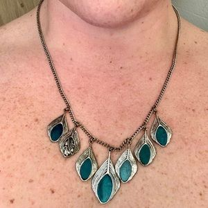 Lucky Brand Reversible Peacock Feather Necklace